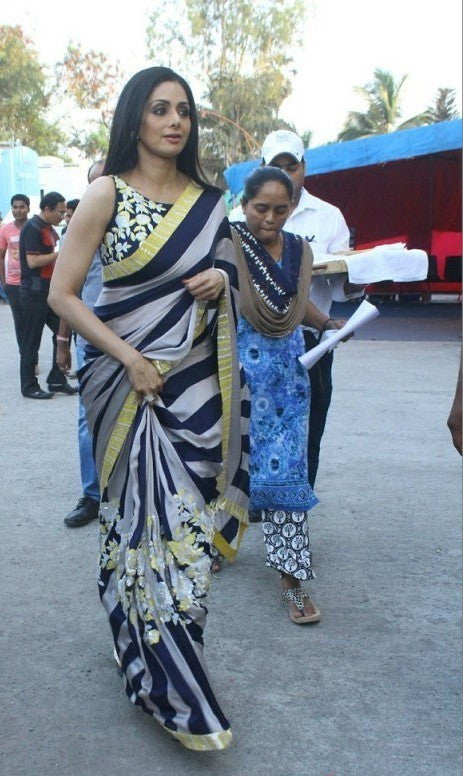 Sridevi Looked Lovely In Manish Malhotra's  Floral Embroidery Designer Saree