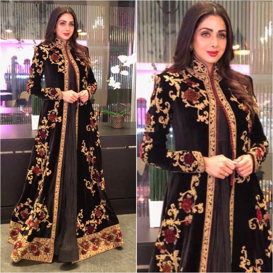 Sridevi in Embroidered Jacket Style Anarkali Suit By Rohit Bal