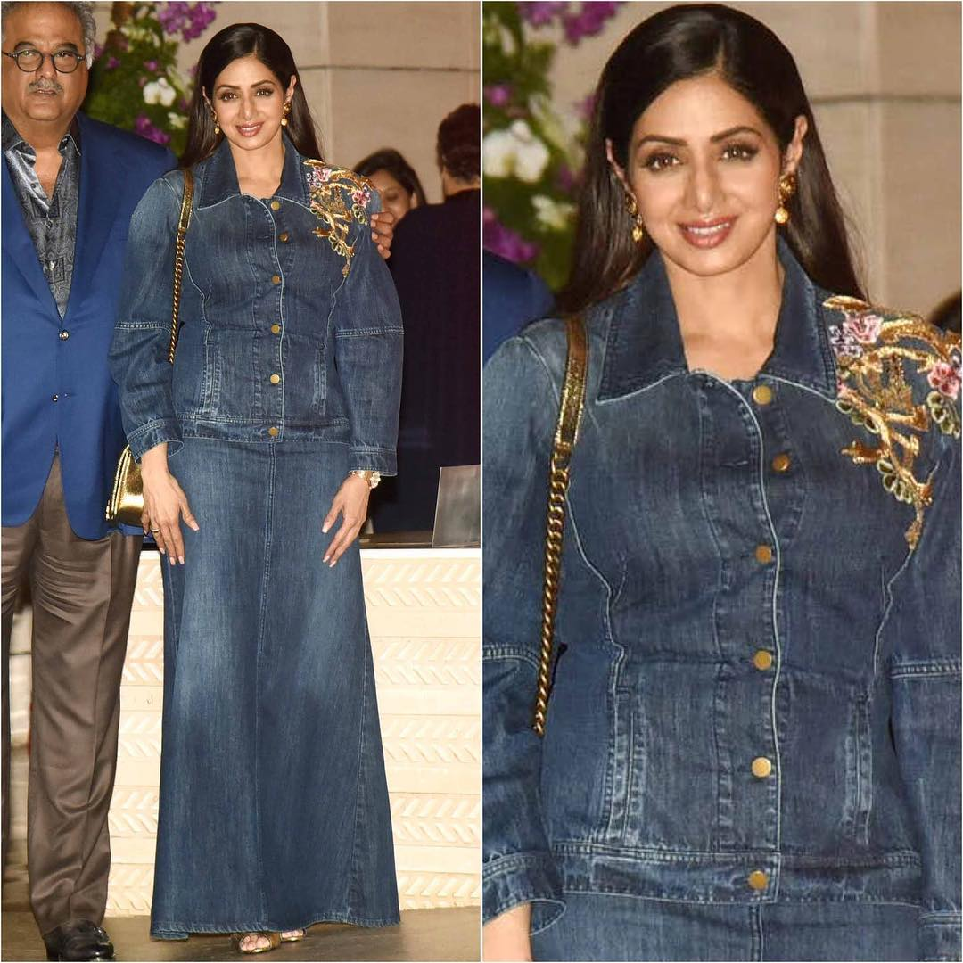 We Have Our Heart Set On Sridevi's Seriously Cool Denim Maxi Skirt