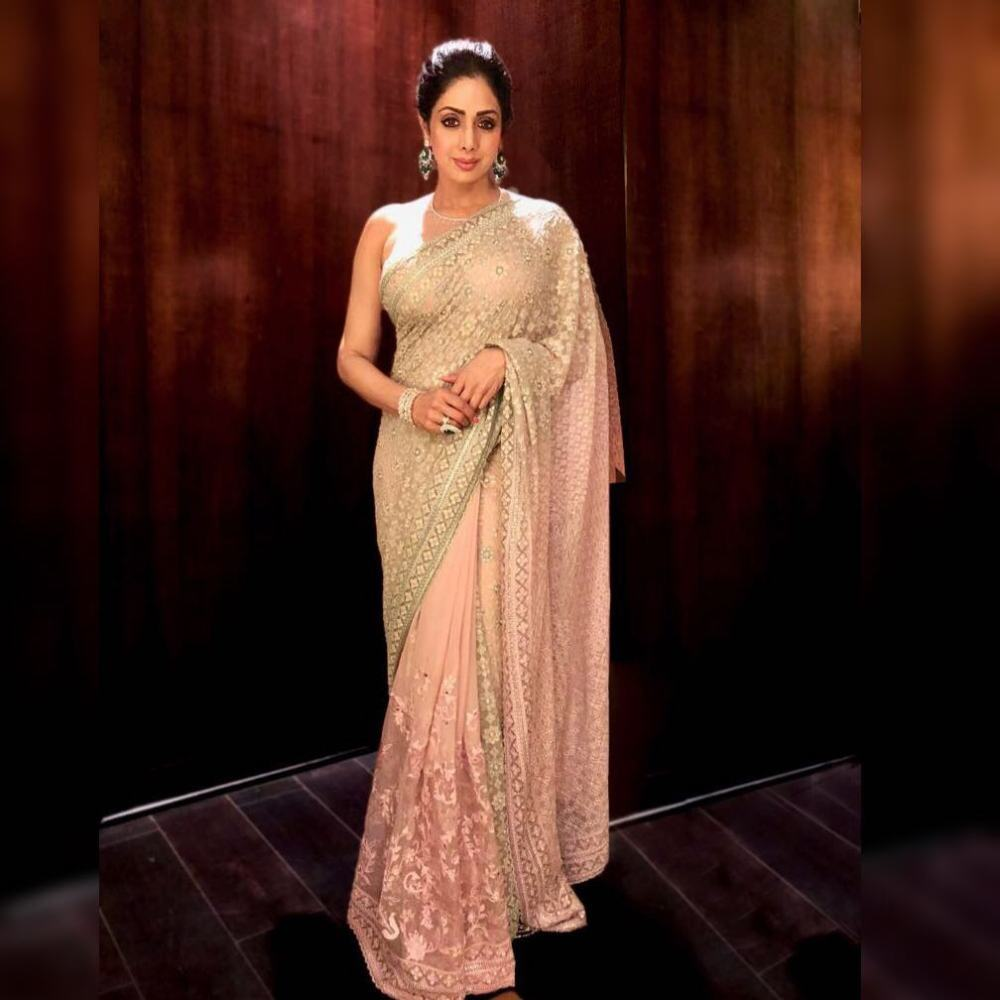 Sridevi Kapoor Dazzles in Tarun Tahiliani's Sheer Saree