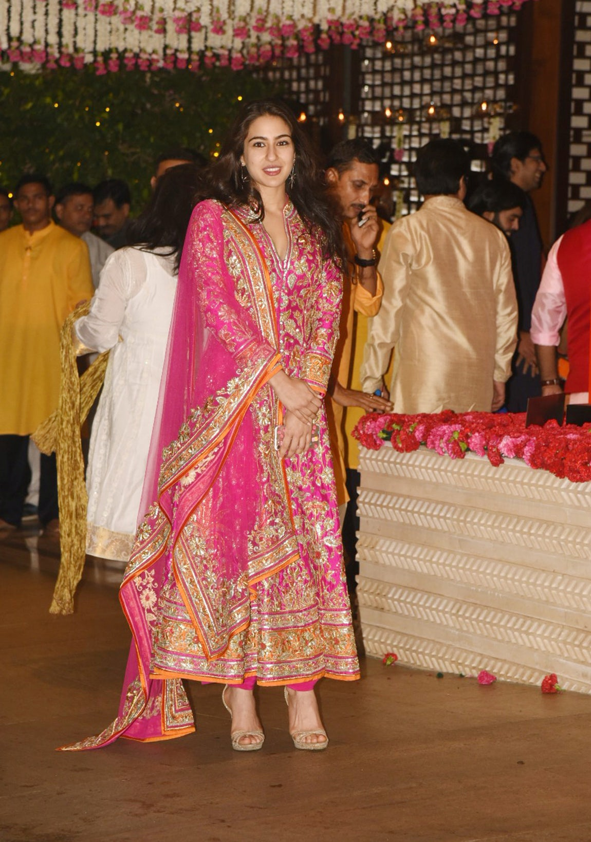 Sara Ali Khan in A Bright Pink Embroidered Anarkali Suit