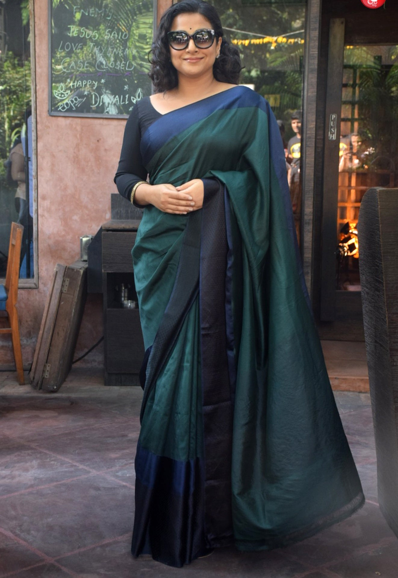 Vidya Balan in Color Block Cotton Saree By Raw Mango