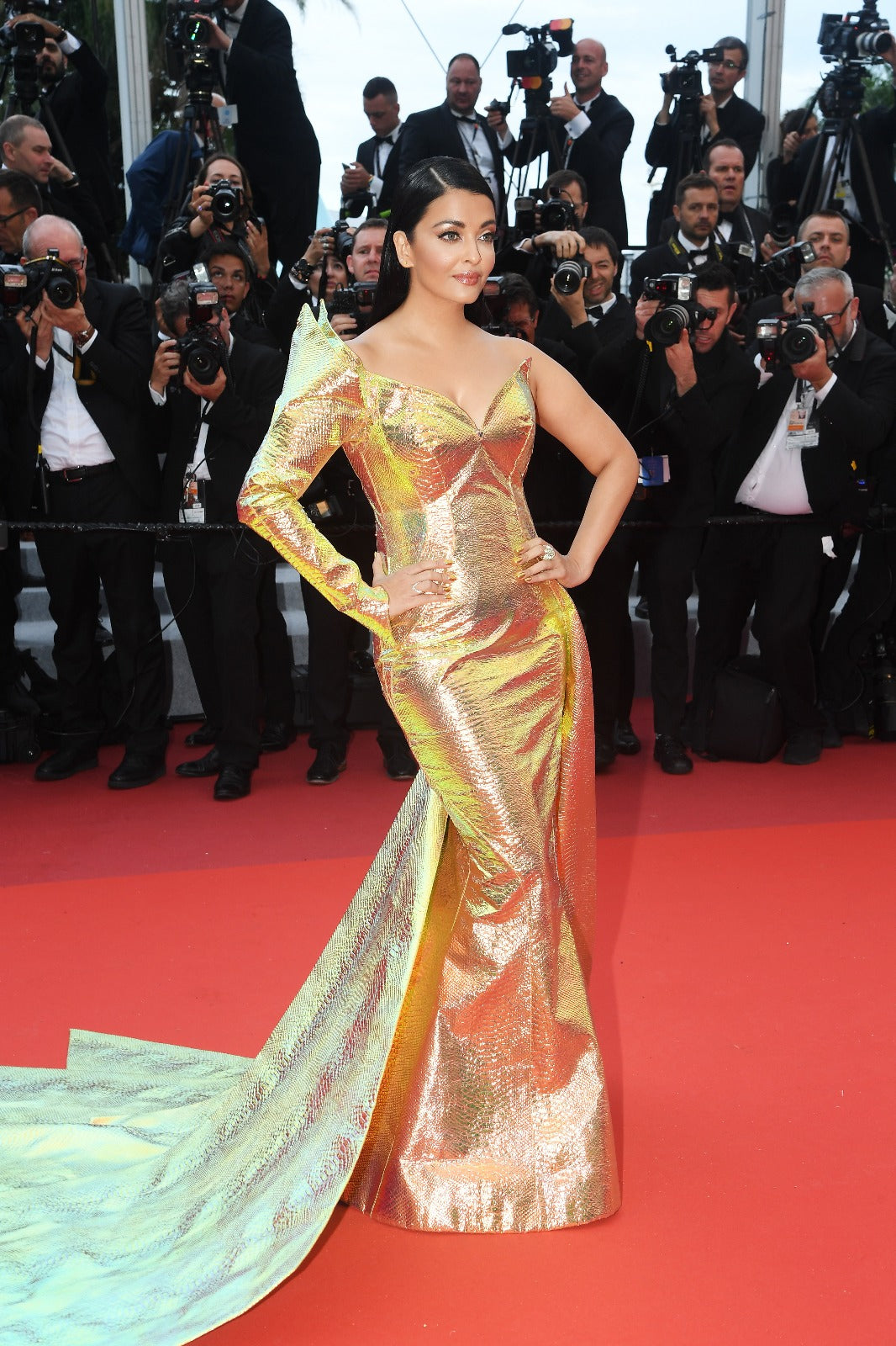 Aishwarya Rai in gold snakeskin Jean Louis Sabaji gown at cannes 2019