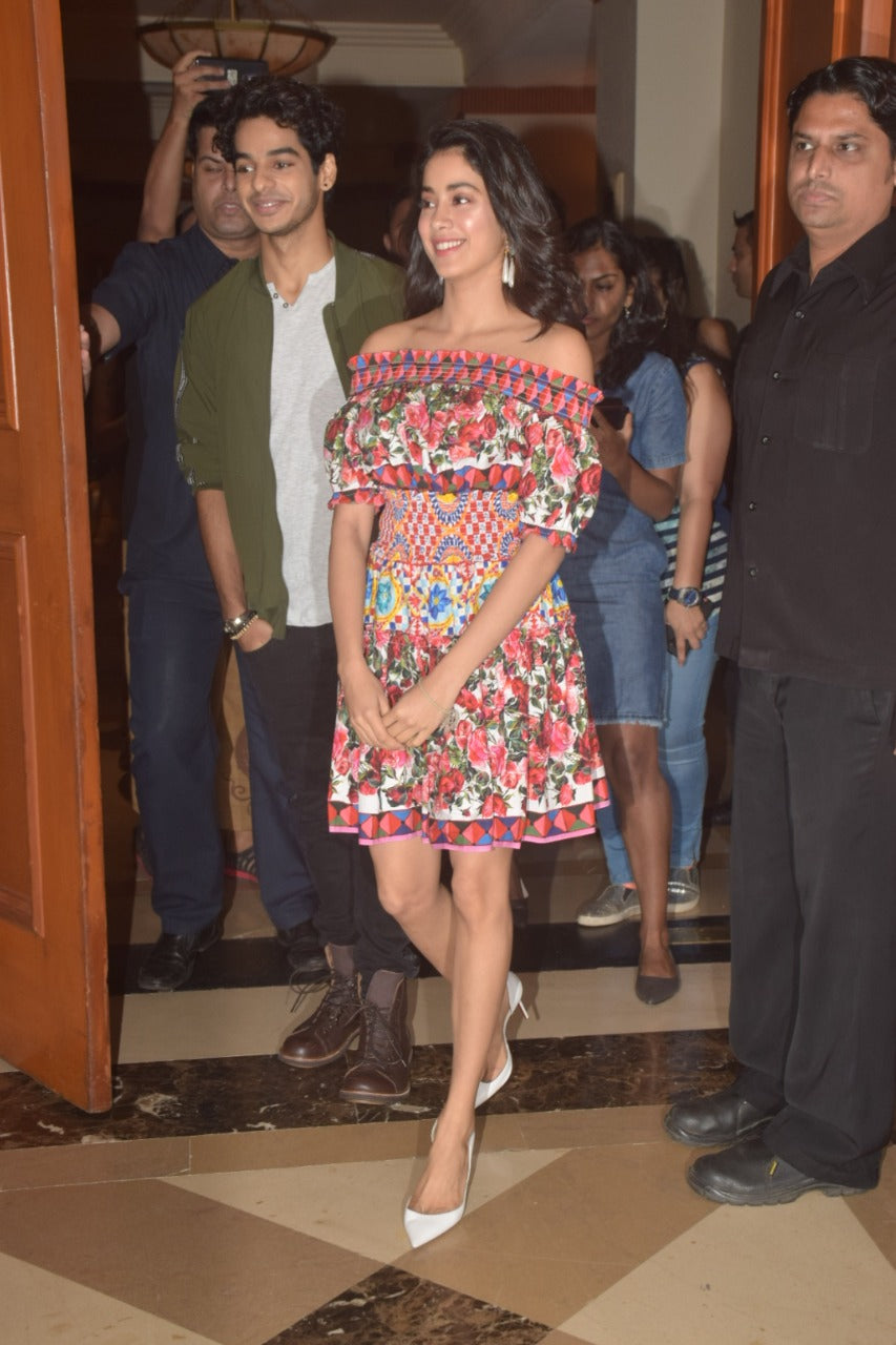 Janhvi-Kapoor-in-Off-Shoulder-Multicolored-Floral-Printed-Romper-Dress-By-Dolce-and-Gabbana