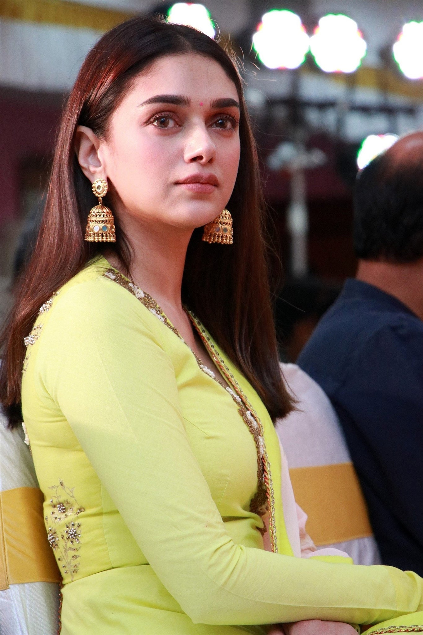 Aditi Rao Hydari in Lime Green and Pink Floor Length Anarkali Suit With Dupatta