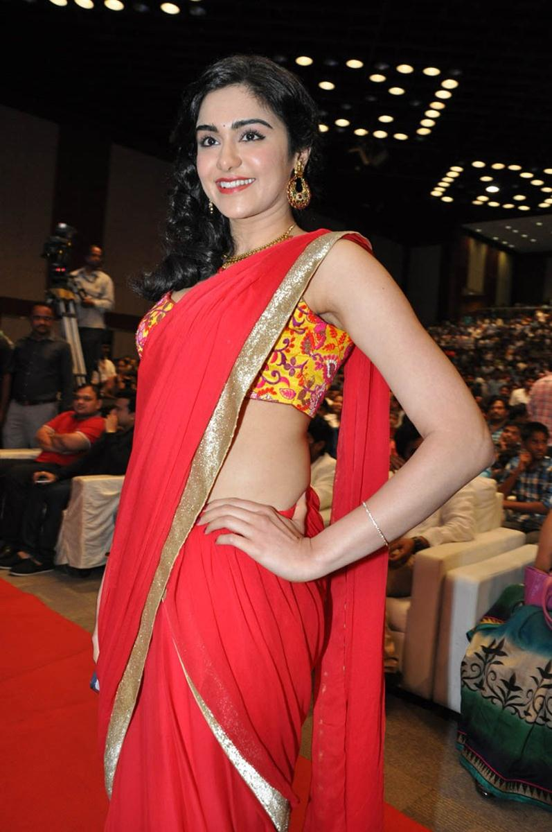Adah-Sharma-in-red-Saree