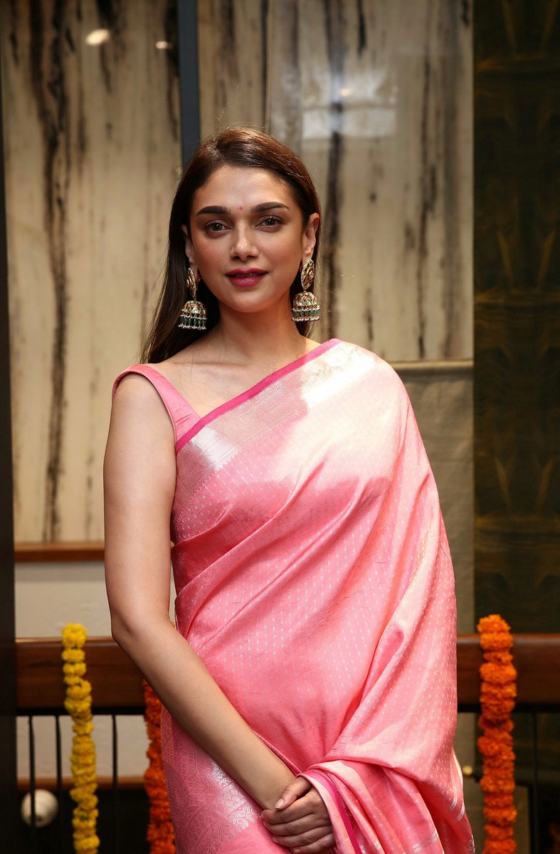 Aditi Rao Hydari in Pink Silk Saree