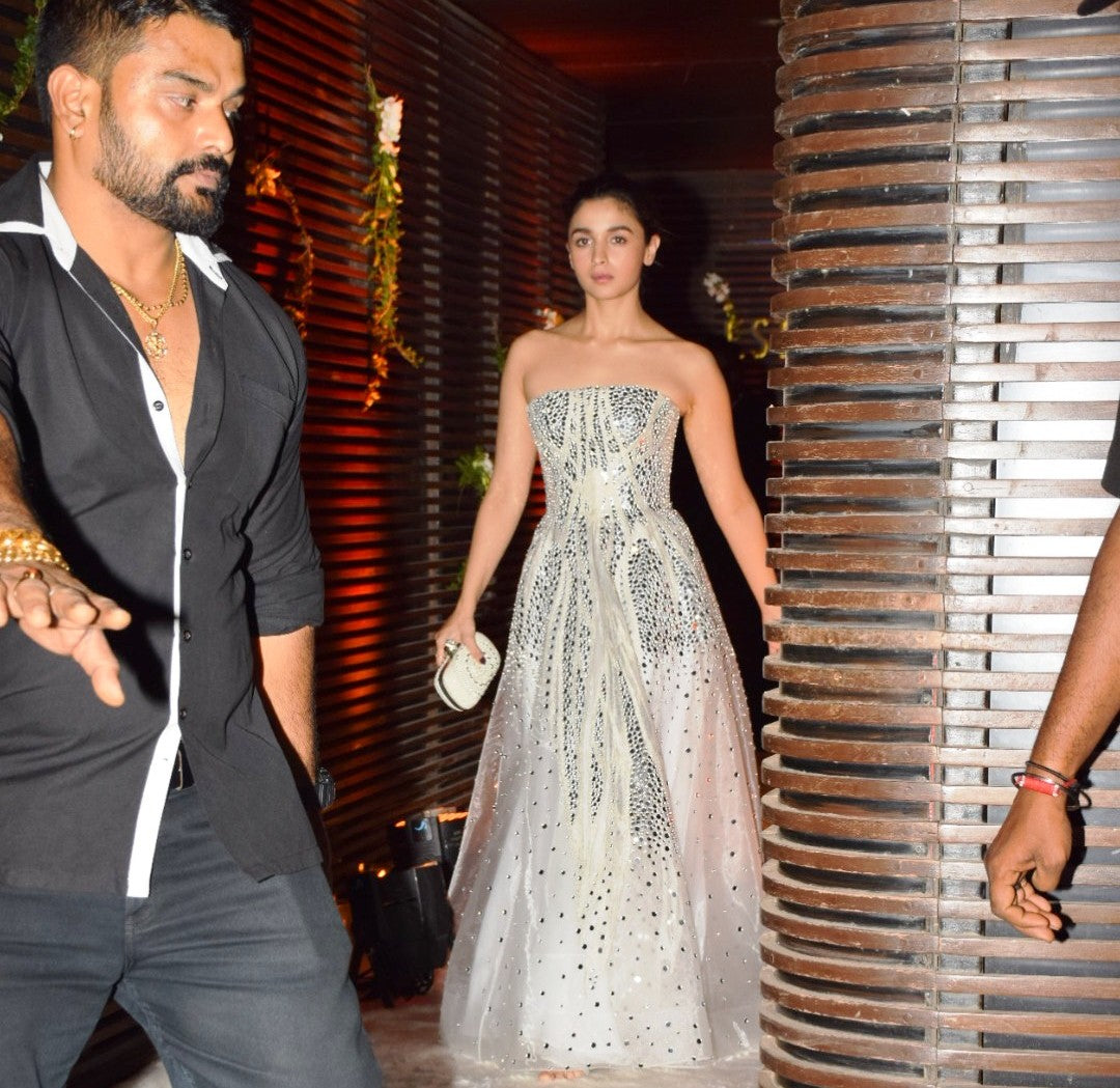 Alia Bhatt Looked Breath Taking In Atelier Zuhra's Silver Fairytail Gown
