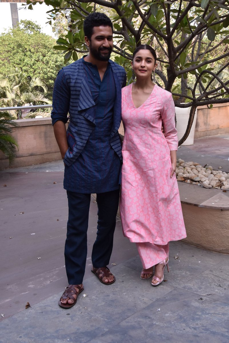 Alia Bhatt in Floral Printed Pink Kurta With Palazzo from Raw Mango's Collection
