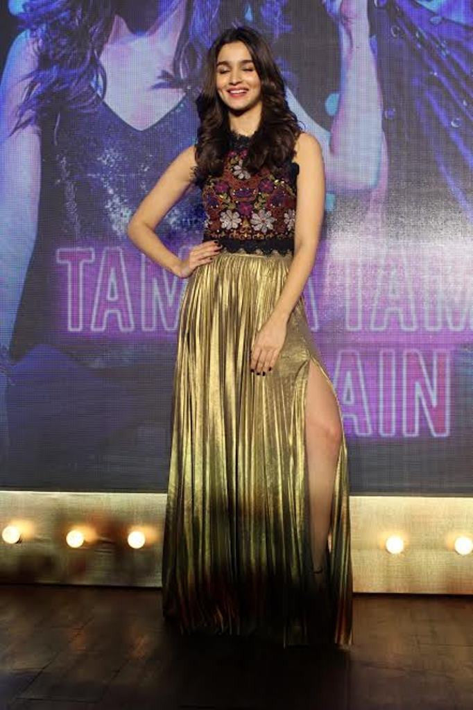 Alia Bhatt in golden long skirt