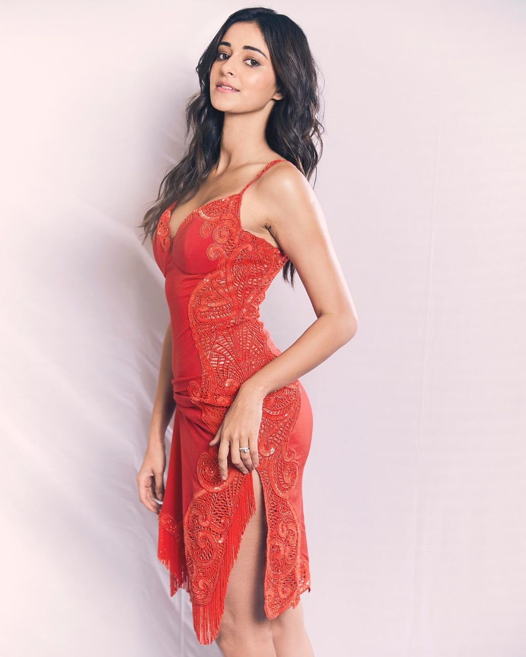 Ananya Panday in Kresha Bajaj's Red Midi Dress