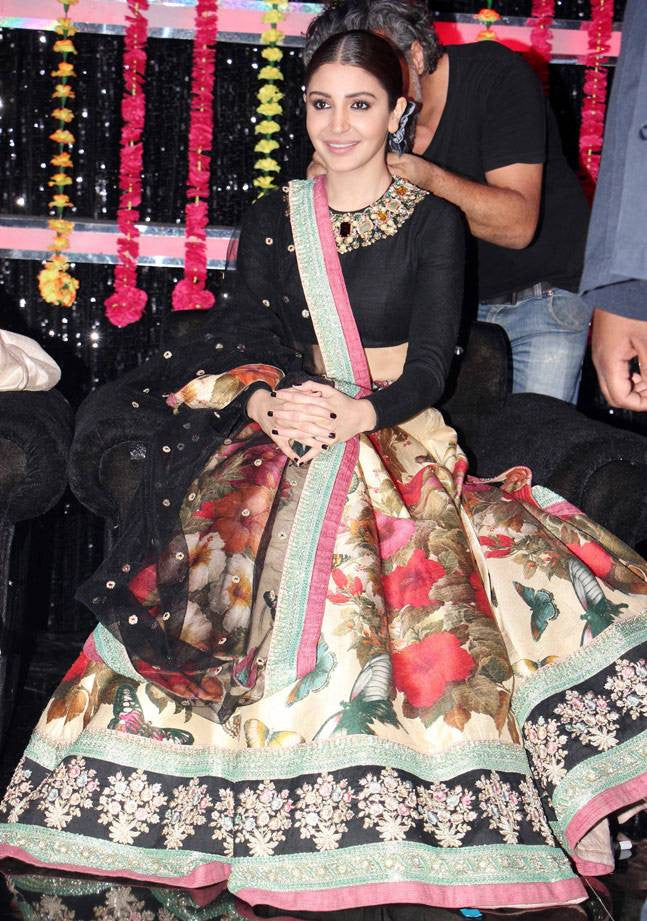 Anushka Sharma in Sabyasachi floral printed lehenga at the sets of Voice India to promote Phillauri