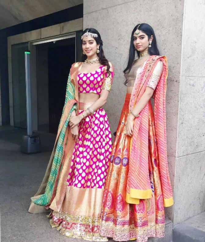 Sridevi and Boney's daughters Khushi Kapoor & Jhanvi Kapoor opted bright lehengas in Banarasi Art silk by Manish Malhotra For Recent Wedding Wedding Wear Dress