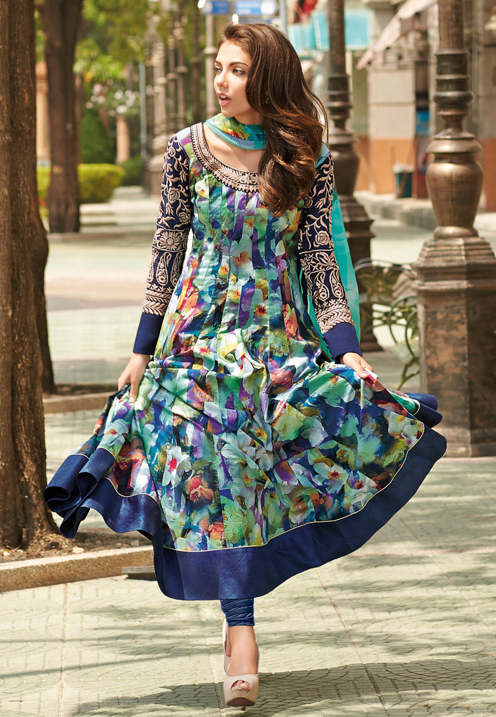 Buy Now Floral Print Long Anarkalis