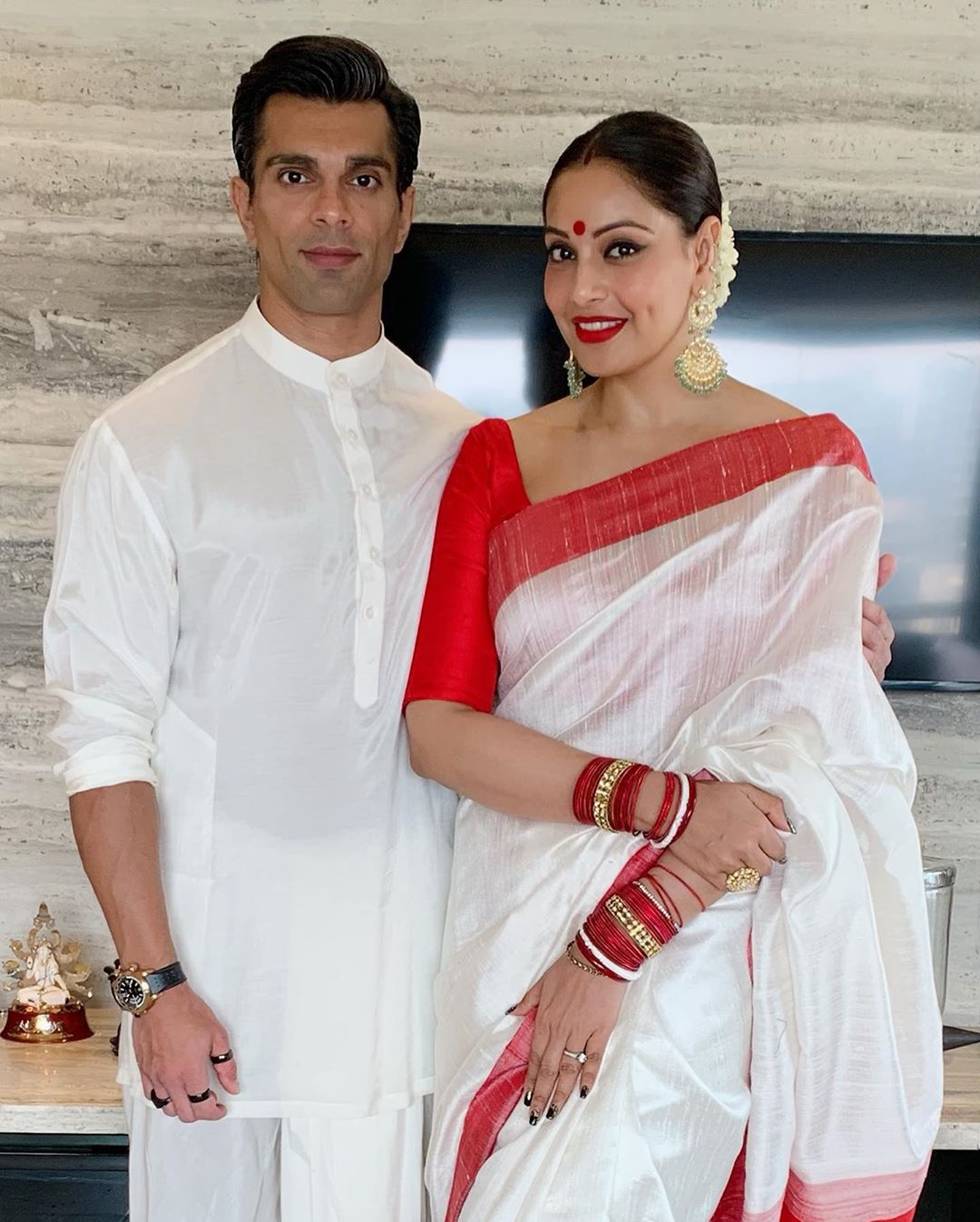 Bipasha Basu in Red And White Saree