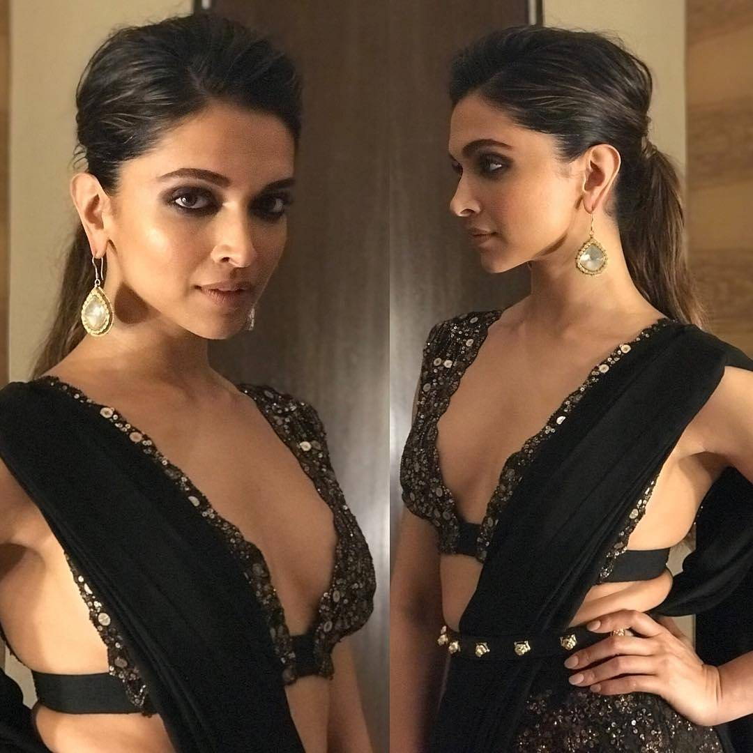 Wao!! Deepika Padukone Can We Please Borrow Your Sabyasachi's Designer Black Saree Blouses For This Wedding Season