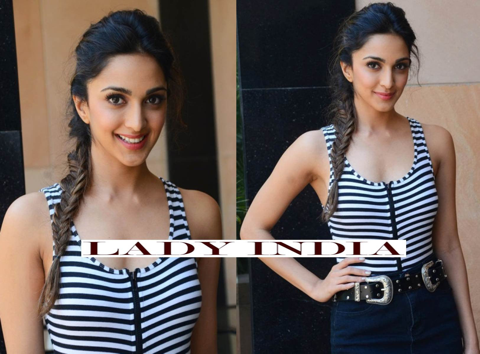 Kiara Advani in striped tank top featuring a front zipper and a threaded navy blue skirt