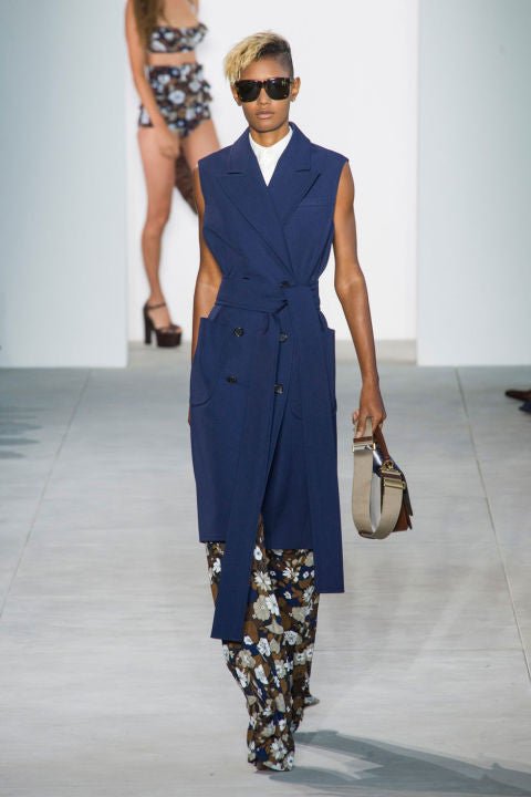 Michael Kors Spring 2017 collection navy blue trench dress at new york fashion week