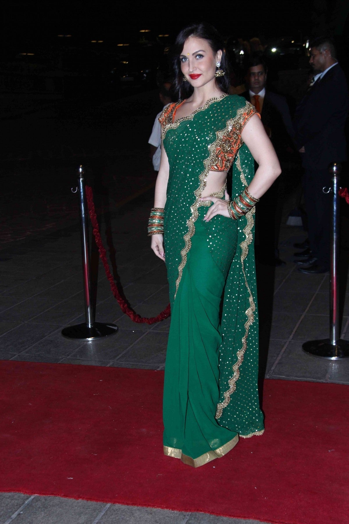 elli-avram-in-green-saree