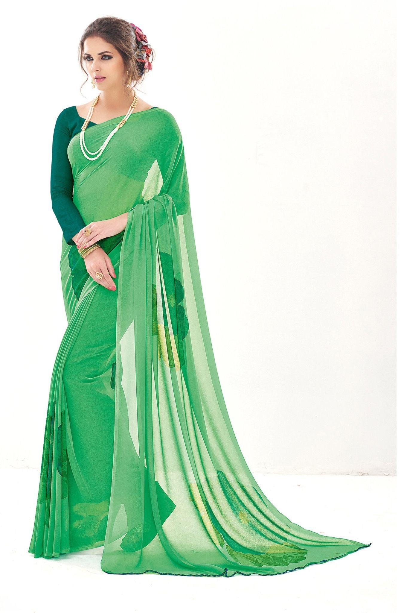 Green-Color-Designer-georgette-Saree