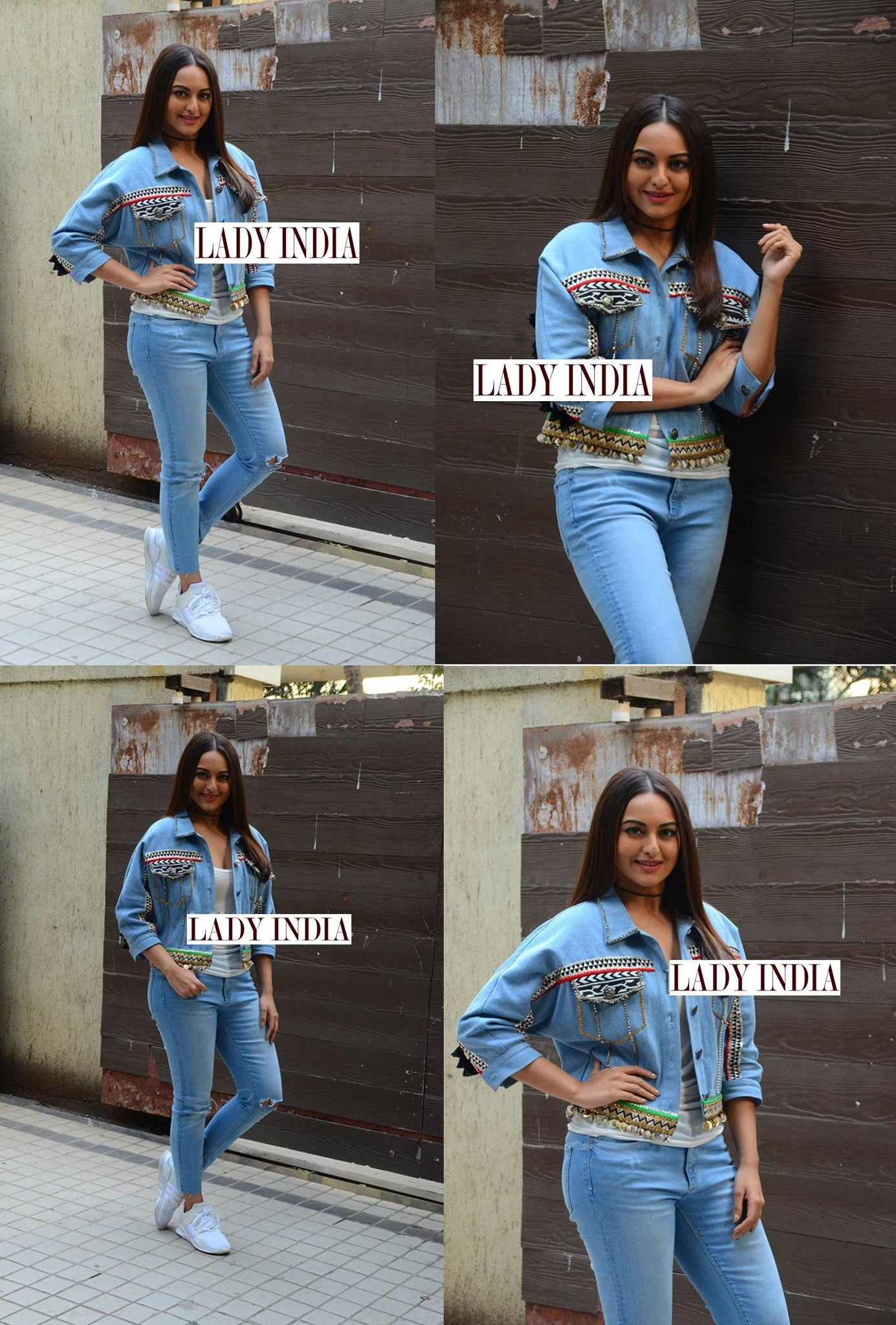 Sonakshi Sinha in denim Jacket with denim from Seema Khan Collection at Noor Promotion