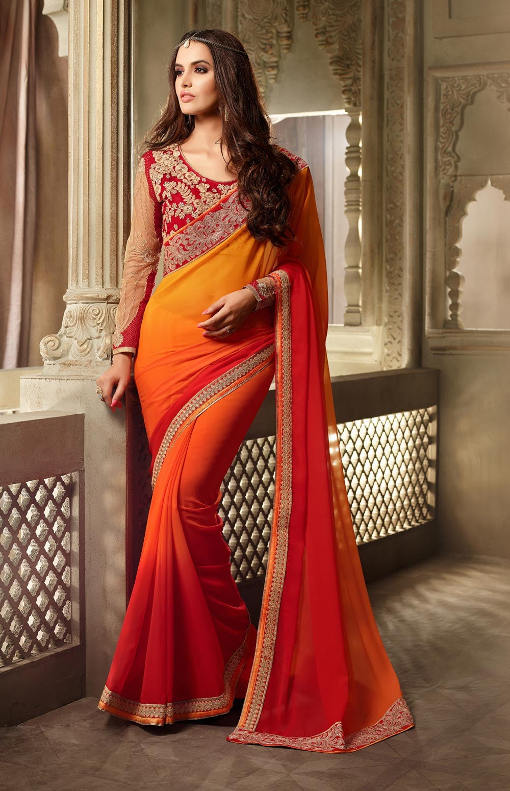 georgette-saree-blouse-designs