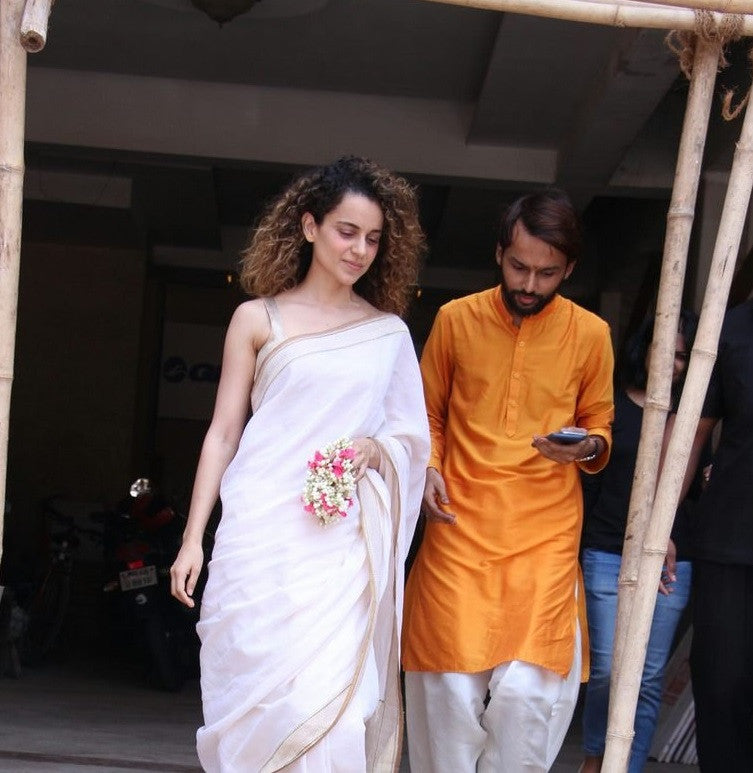Kangana Ranaut in Good Earth's designer white border cotton silk saree Indian wear