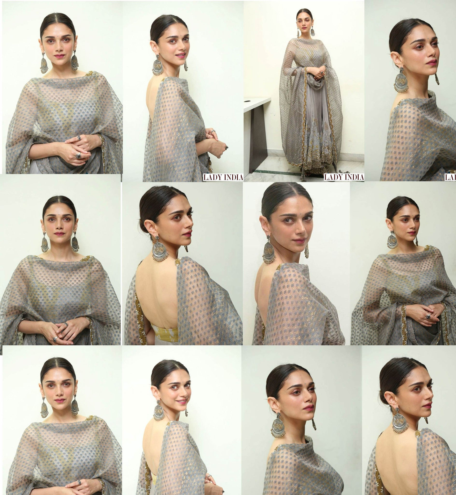 Aditi Rao Hydari in Nikita Mhaisalkar's Designer Indian Ethnic Wear during promotions of her upcoming film, 'Kaatru Veliyidai