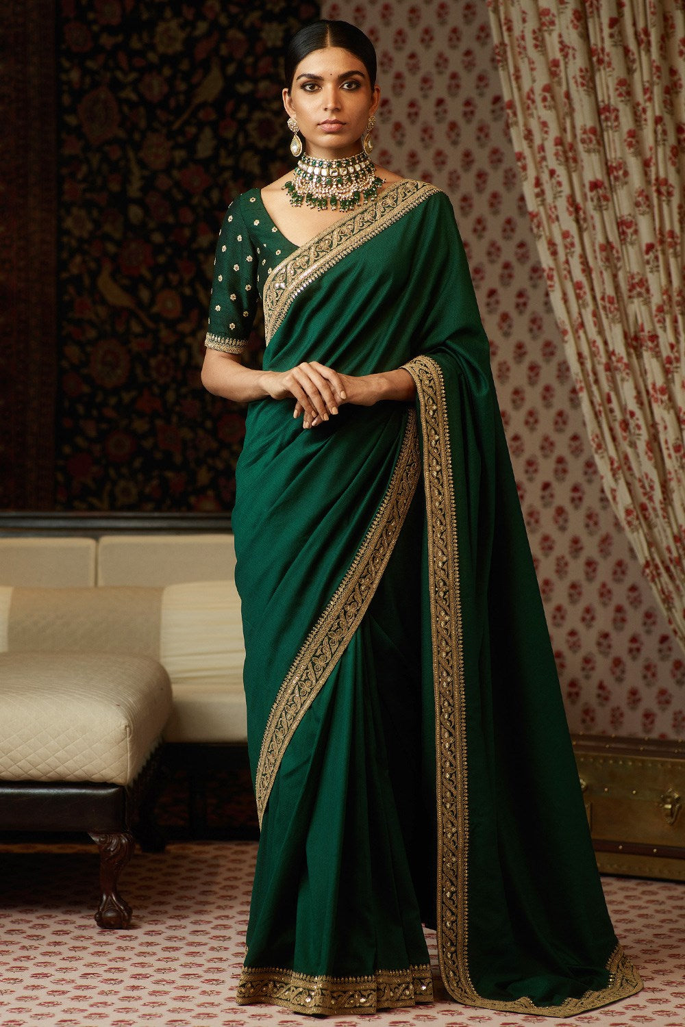Green-Color-Designer-Net-Saree