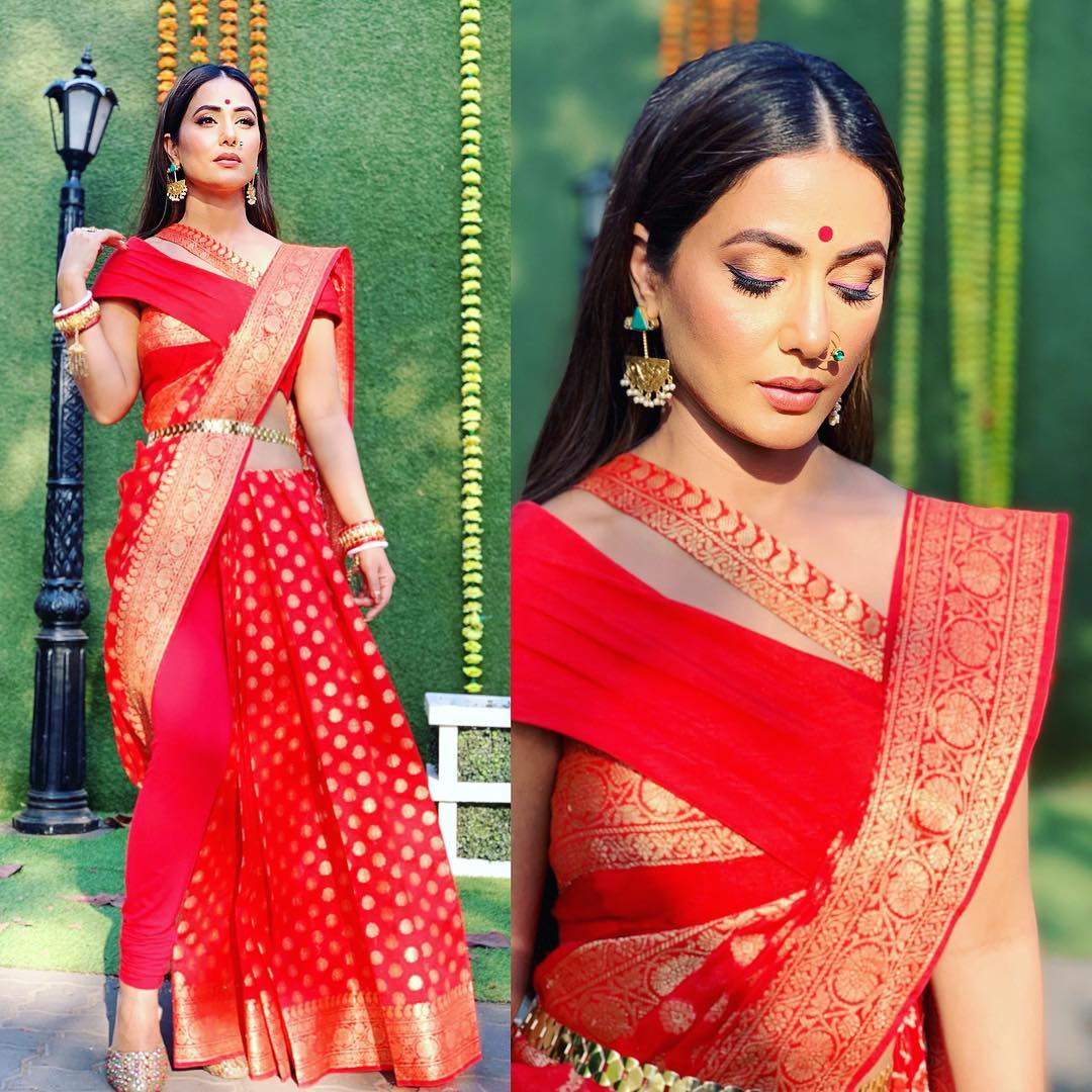 Hina Khan Looks Ethreal in Red Bengali Silk Saree in Her Latest Picture