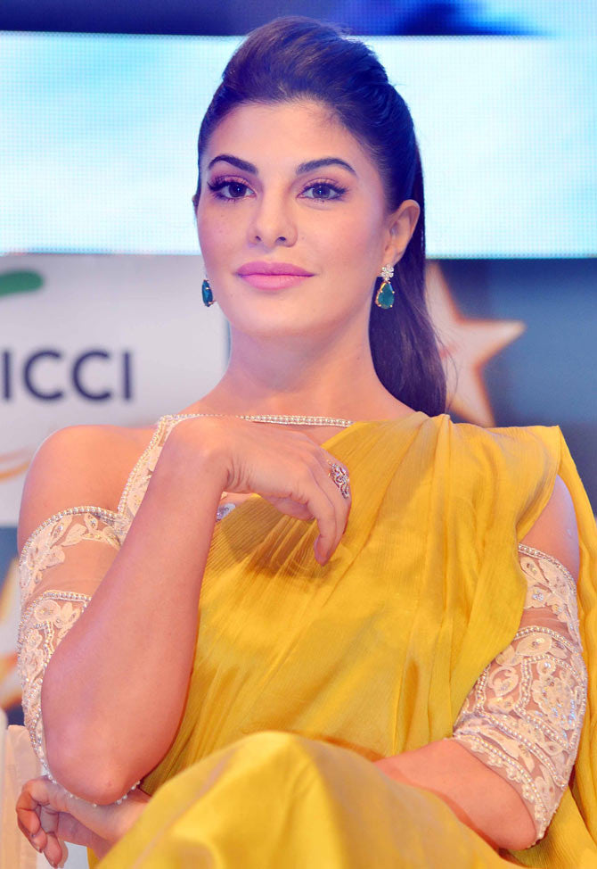 Jacqueline Fernandez Dazzles in Manish Malhotra Collection's Designer Yellow Sari at FICCI Frame 2017 Event