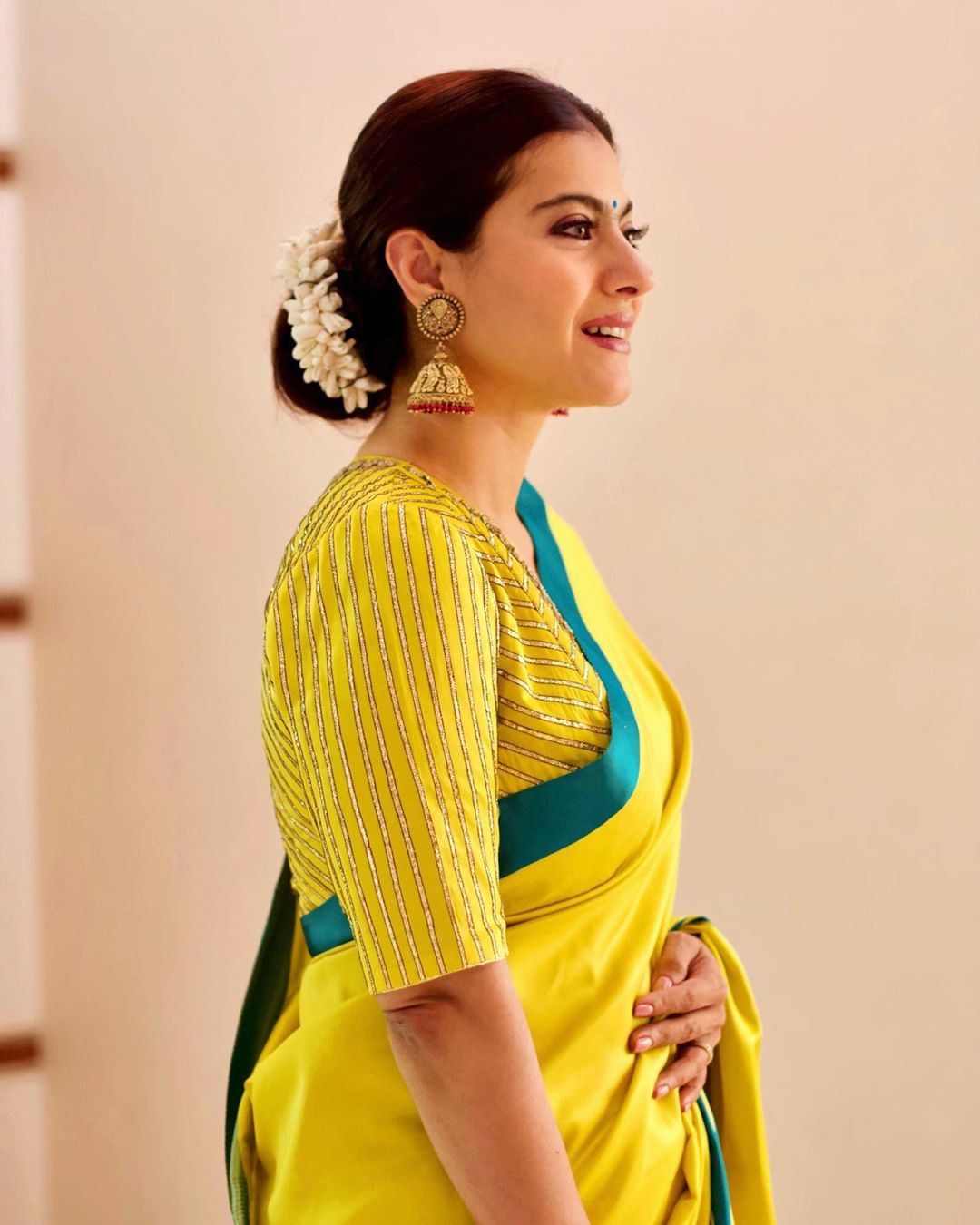 kajol-in-yellow-color-silk-saree