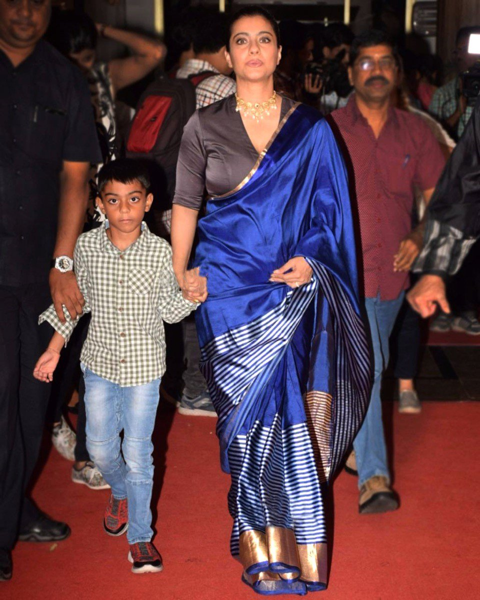 Kajol in Blue Striped Saree By Raw Mango