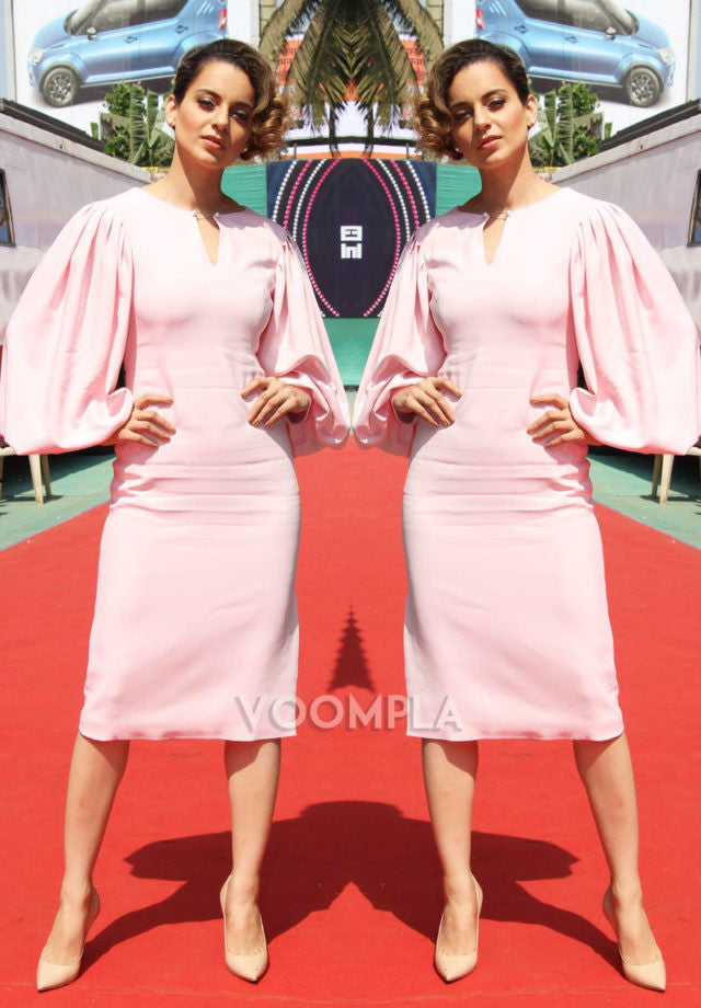 Kangana Ranaut  in a blush pink balloon sleeve dress from Osman's Resort 2017 collection at Rangoon Promotion at Kapil Sharma Show
