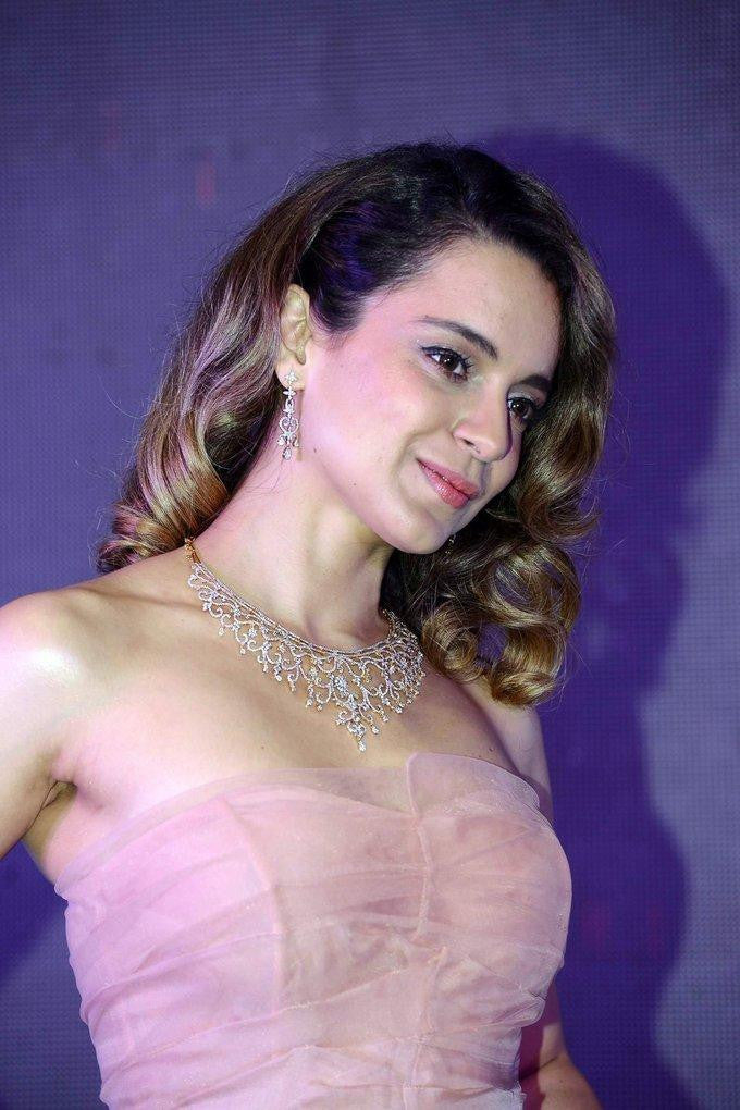 Kangana Ranaut Looks Like A pretty Doll In pink net gown dress at Rangoon Movie Promotion