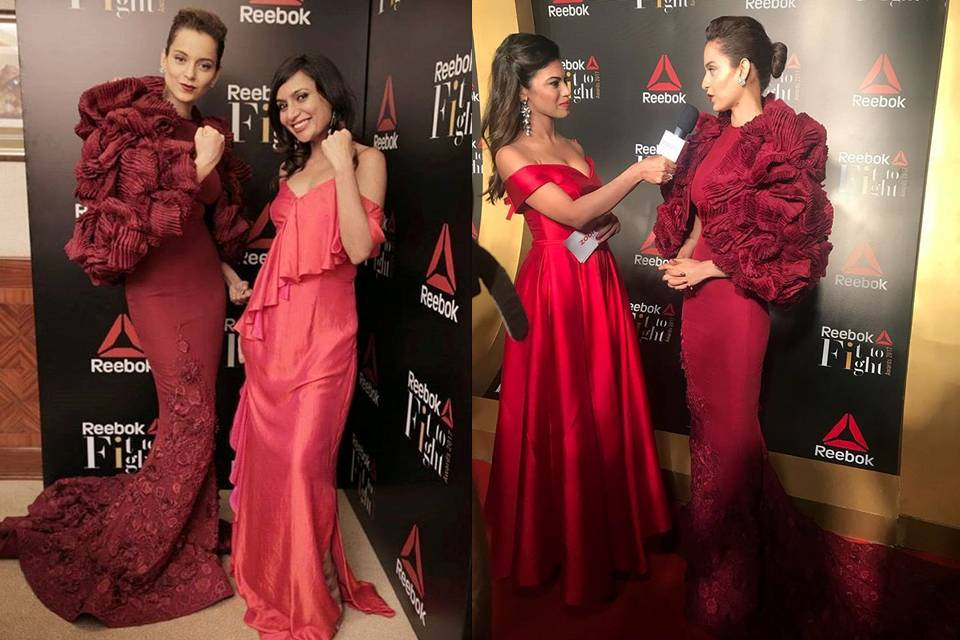 Kangana Ranaut in Tony Ward's Maroon Gown at Reebok Fit To Fight Awards