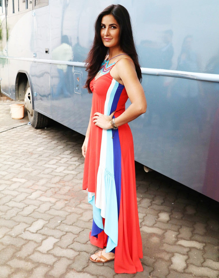 Katrina Kaif In Designer Summer Red Dress By Peter Pilotto At Jagga Jasoos' Promotion Event