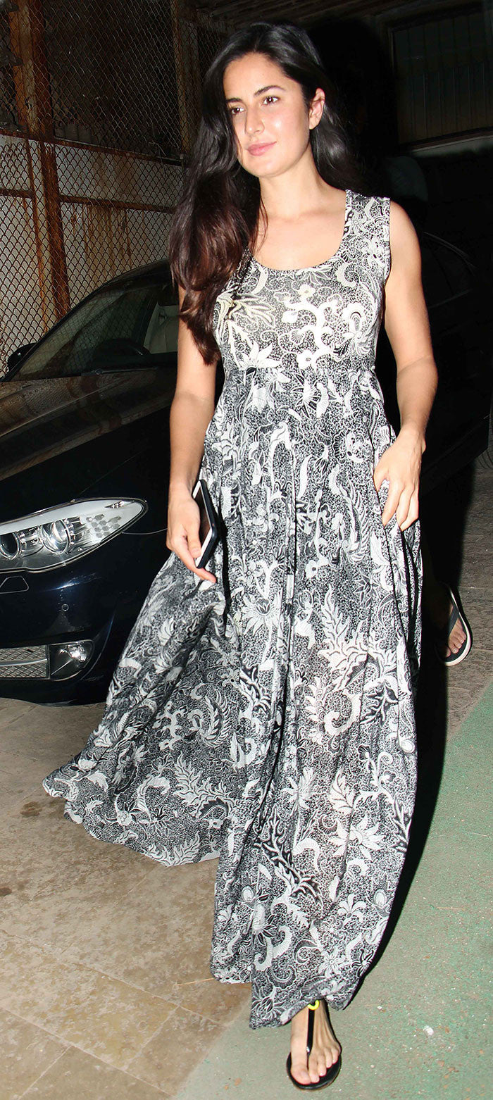 Katrina Kaif Looked Easy Breezy In Black & White Printed Summer Gown