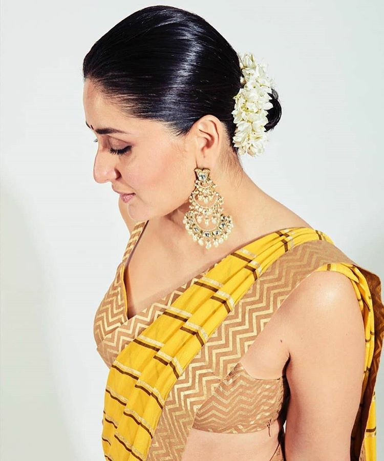 Kareena Kapoor Khan in Yellow Saree by Nikasha
