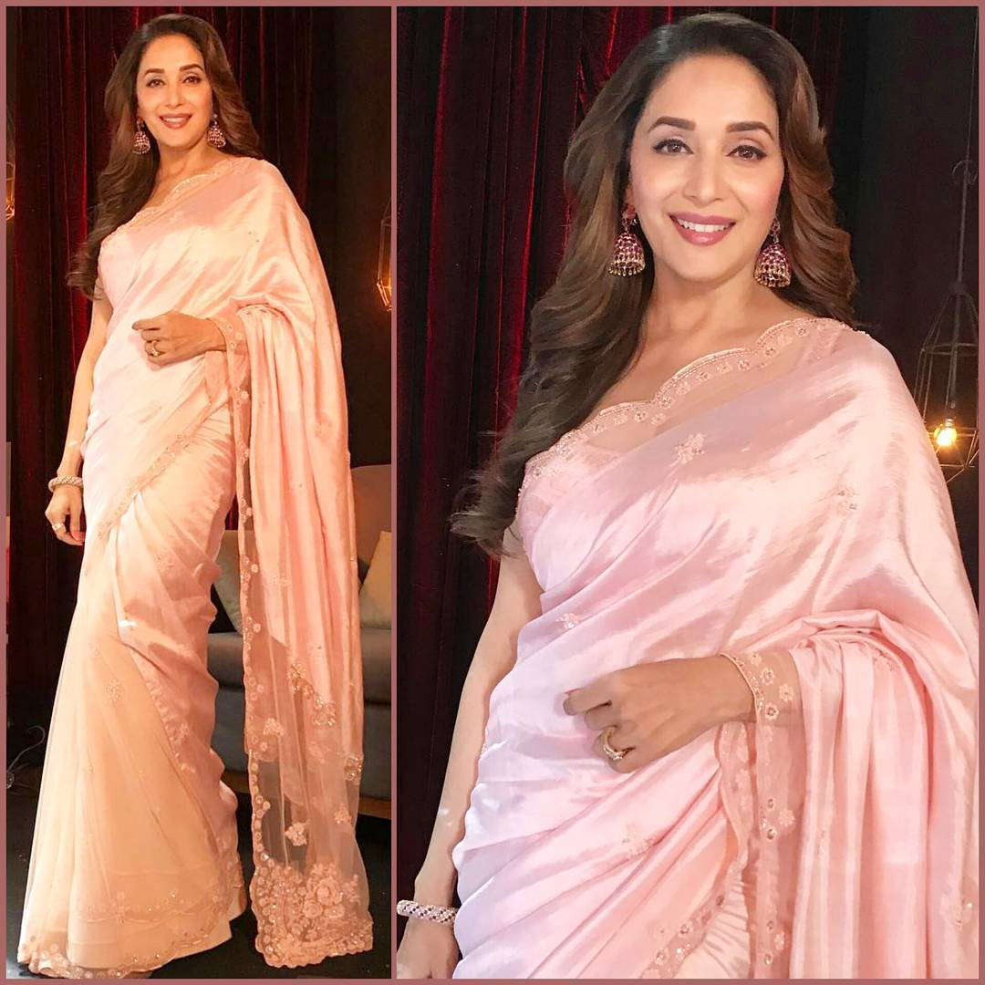 We're Totally Stealing Madhuri Dixit's Jade By Monica And Karisma Saree For The Wedding Season Ahead