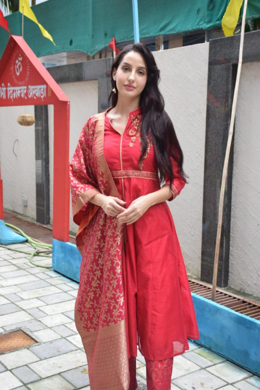 Nora Fatehi in Red Anarkali Suit with Silk Dupatta