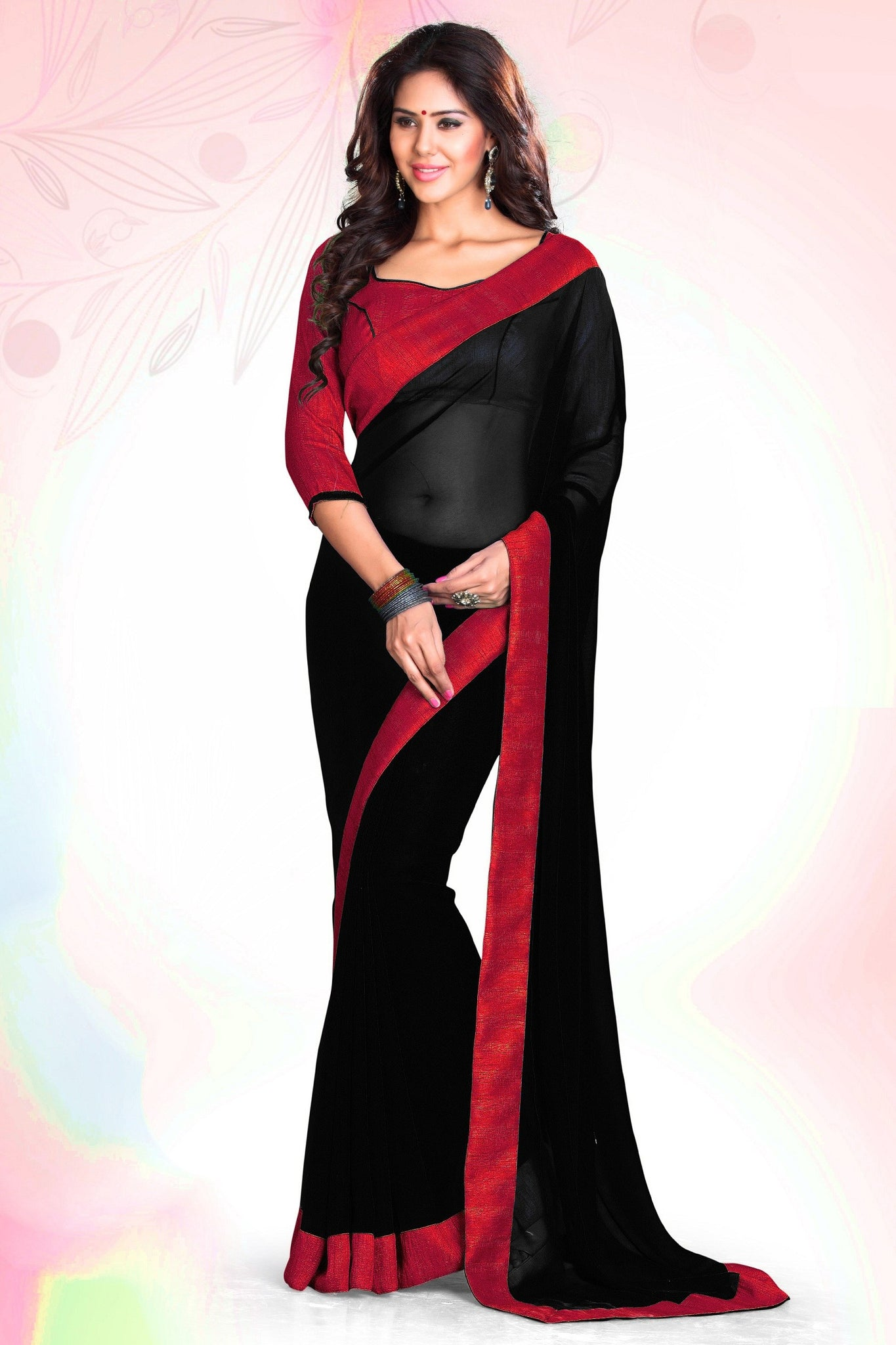 plain-saree-with-borders