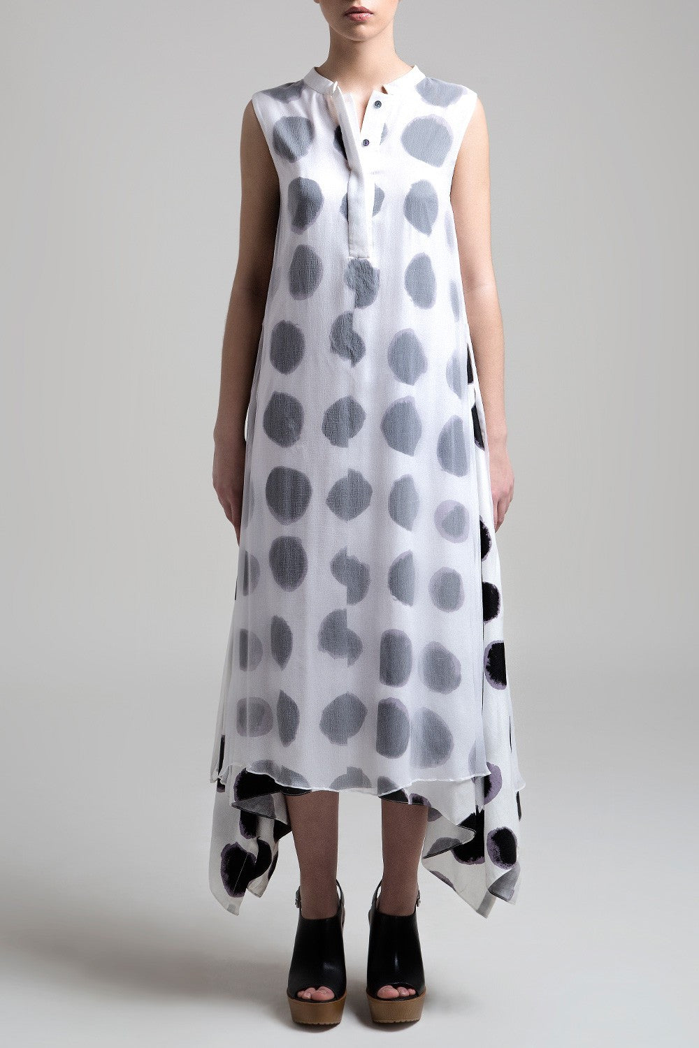 White Color Polka Dot Tunic Dress From Bench
