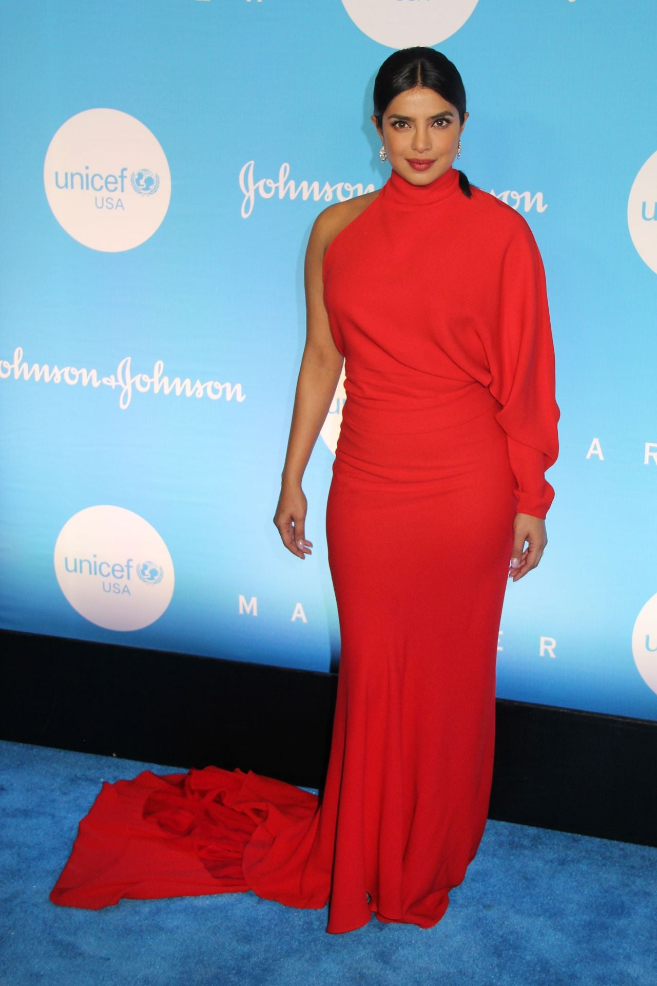 Priyanka Chopra in Red Floor-Length Designer Gown