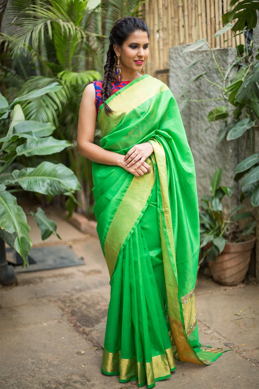 green-saree