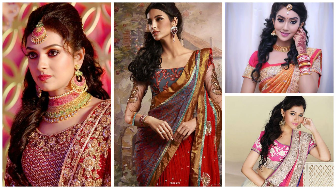 hairstyles-with-saree-for-party