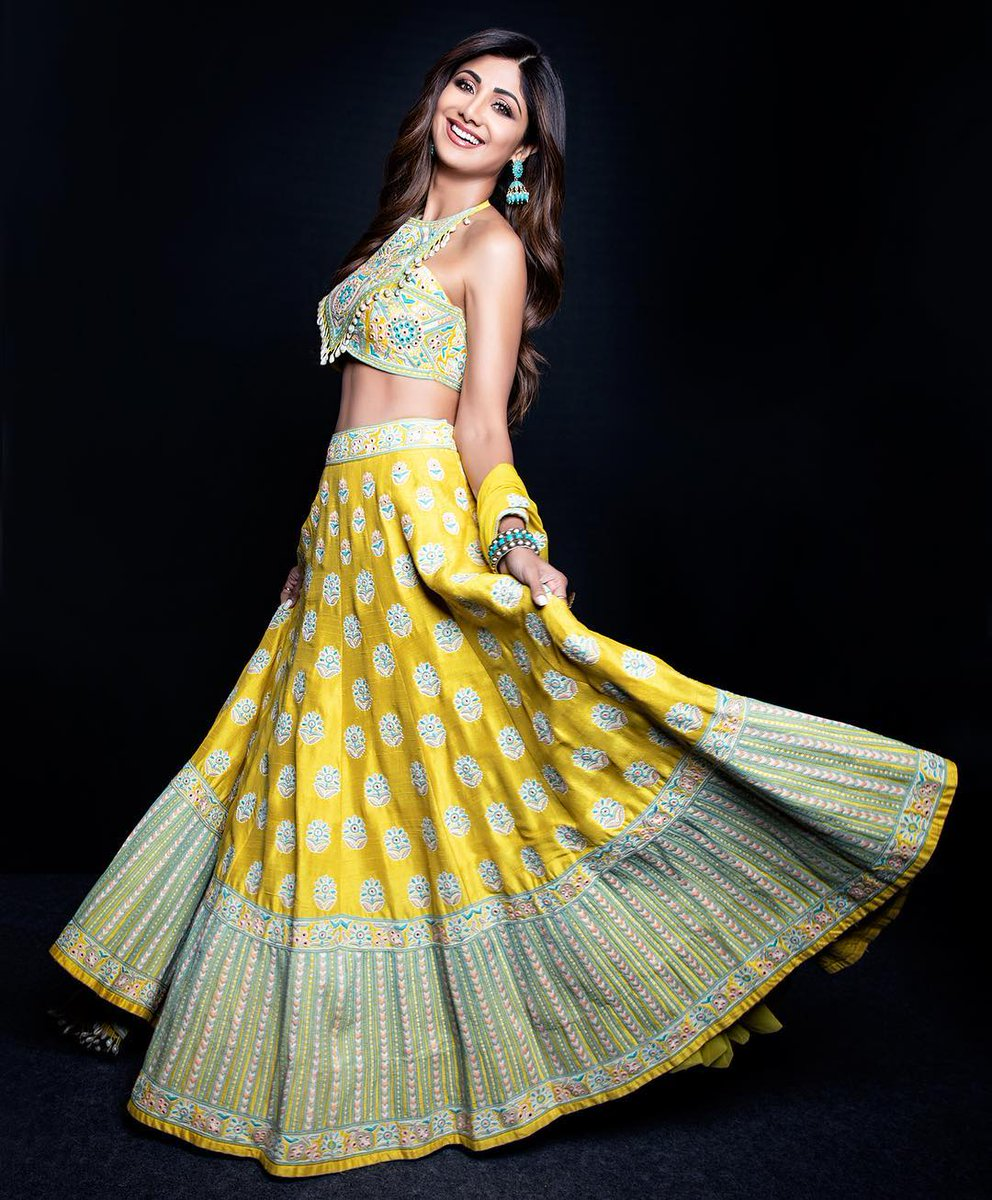 Shilpa Shetty in Yellow Lehenga from Arpita Mehta's Collection