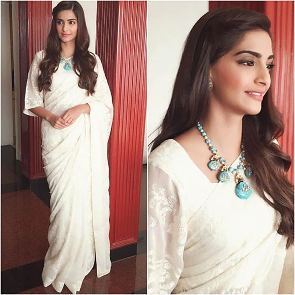 White-saree-with-a-touch-of-turquoise