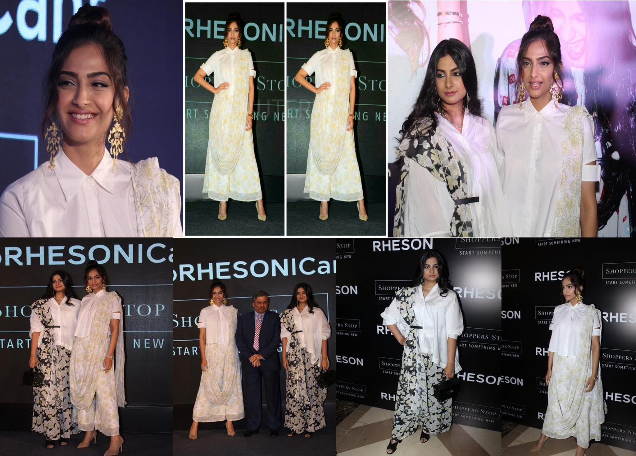Sonam Kapoor opted for the white mogra palazzo saree which was teamed it up with a white Off-Duty Cropped shirt
