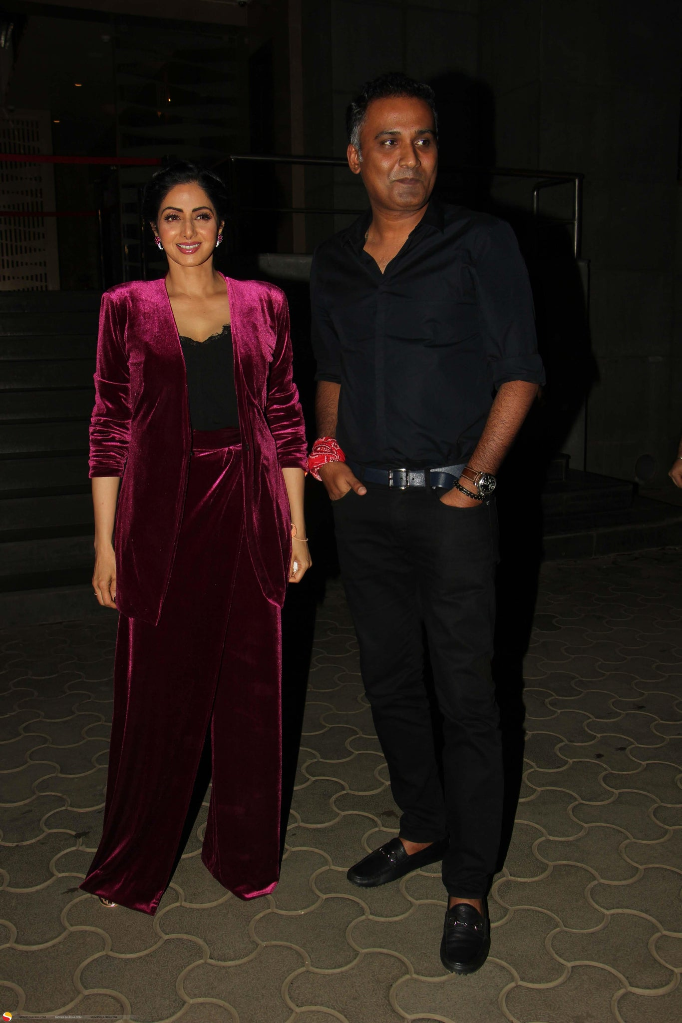 Sridevi In Velvet Outfit From Cactus At  'Mom' Press Meet